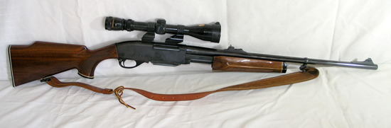 Remington Model-6 243WIN Pump with 3x9 Redfield Scope and Clip. Has Checker