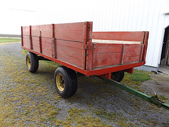 14' tall sided flatbed wagon with JD running gear