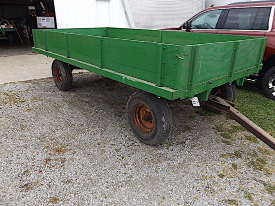 14' short sided flatbed wagon with running gear