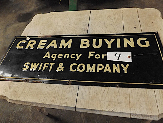 "Porcelain Sign - ""Cream Buying Agengency for Swift & Company"""