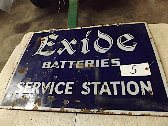 "Porcelain Sign - ""Exide Batteries Service Station"""