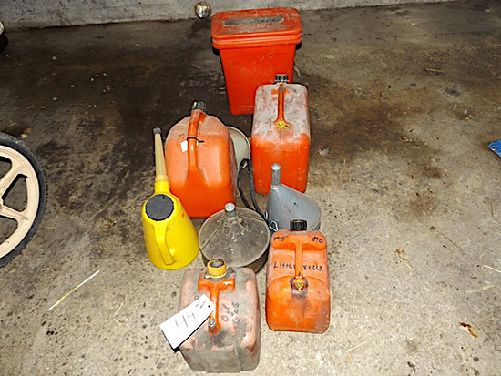Gas cans, funnels