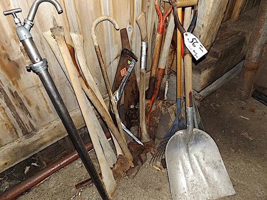 shovels, barrel pump, rakes