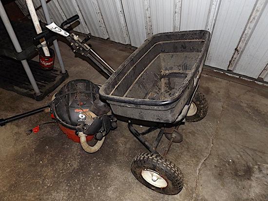 Agri Fab push fert spreader, 6 gal sweeper