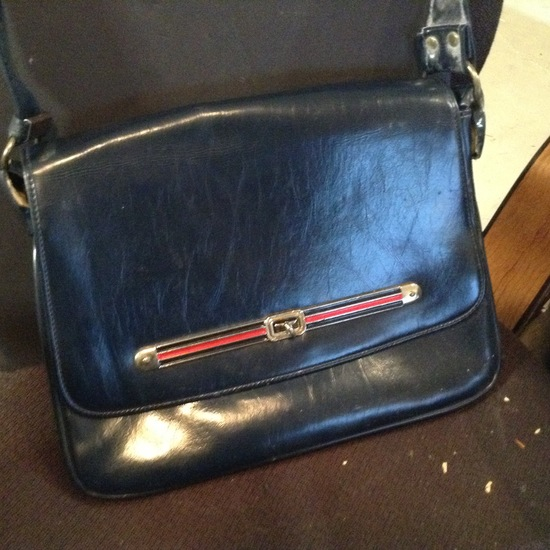 Accessories - Designer - Women; Purse Blue Leather Pin Stripe