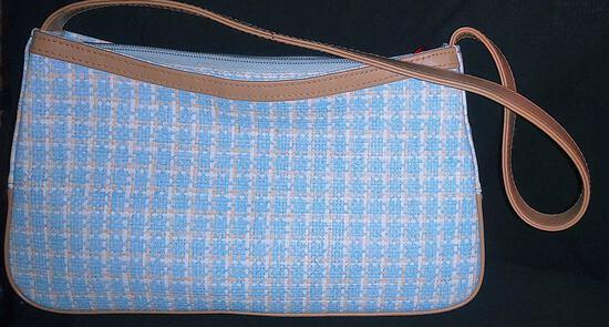 Accessories - Designer - Women; Purse Tan Leather Baby Blue & White