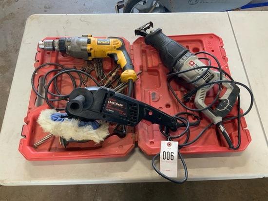 Dewalt Hammer Drill, Porter Cable Sawzall, Craftsman Buffer