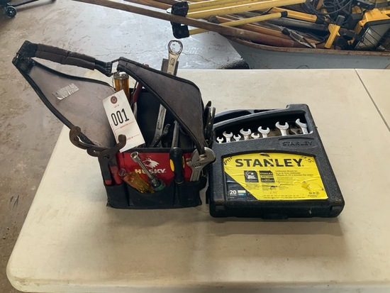 Husky tool Bag with tools, Stanley wrench set