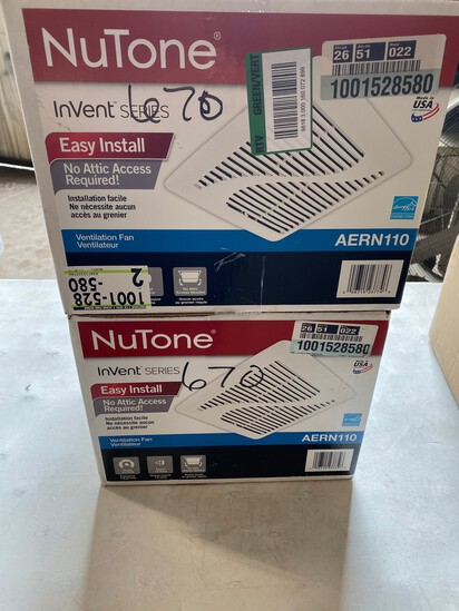 2- Nutone Invent Series Ventilation fan