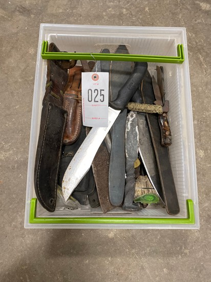 Tote full of hand made knifes