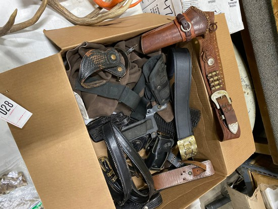 Box with leather gun belts & holsters