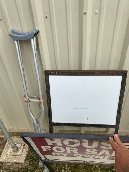 2 Metal Signs & Crutches