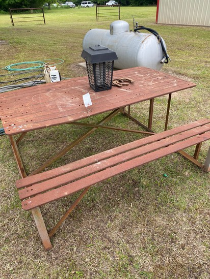 Metal Picnic Table with Bug Zapper
