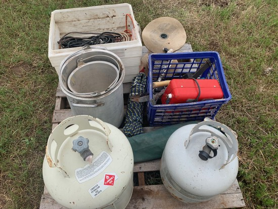 Lot of Misc. Extension Cords, Propane Tanks, Fence Charger, and Hand Tools