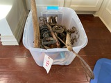 Tub of Misc. Antique Branding Irons, Bits, etc.