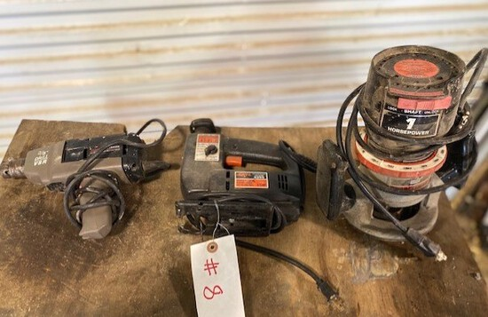 "Lot of a Craftsman 3/8"" Drill, Skill Jig Saw, and Craftsman Sears Router"