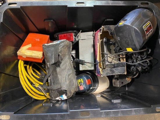 Box of Trailer Lights, Chains, Orbital Sander