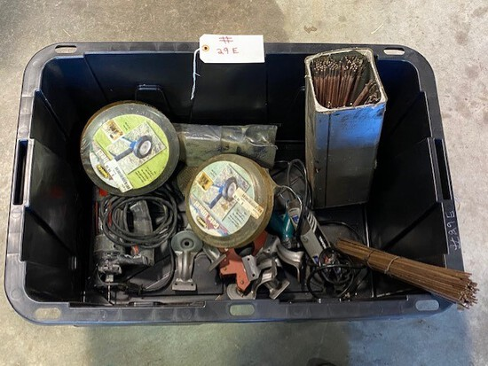 Box of Misc. Welding Rods, Brazing Rods, Gate Wheels, Gate Latch, RotoZip