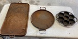 Lot of Cast Iron Griddles and Muffin Pan