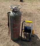 Lot of an Antique Fire Extinguisher and Electrical Reel