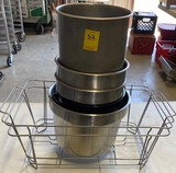 Lot of 2 Chafing Pan Racks & Misc. Mixing Bowls