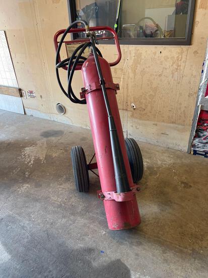 CO2 Extinguisher, Single 50 pound bottle on cart