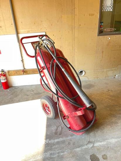 CO2 Fire Extinguisher, Double 50 pound on cart