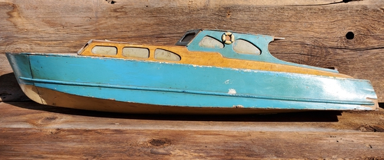 Vintage Large Wood Speed Boat