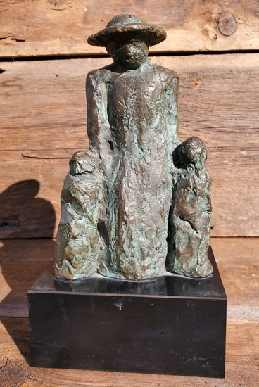 Bronze Sculpture of Parent and Children