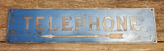 Brass Telephone Sign