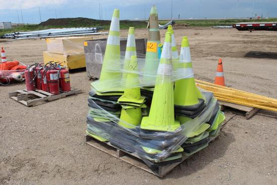 Qty of green safety cones
