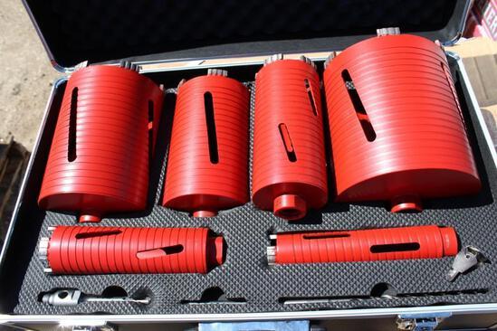 (NEW/UNUSED) Powertek 6 pcs. diamond dry core drill set c/w 1-1/2'', 2'', 3'', 4'', 5'', 6'' core dr