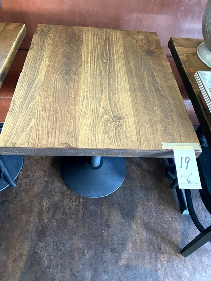 "WALNUT STAINED ALDERWOOD 24""X30"" TABLES W/30LB CAST-IRON BASE"