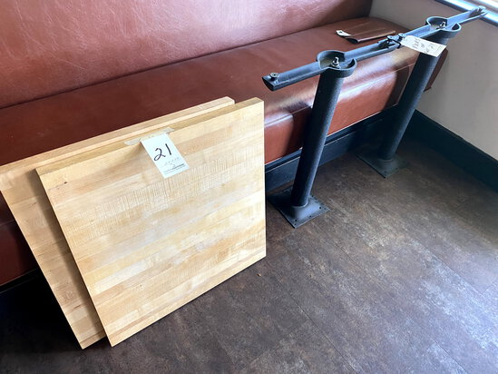 BLONDE BUTCHERBLOCK TABLE TOPS W/DOUBLE INLINE BASES