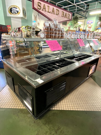 "CUSTOM 124""X67"" SELF-SERVE SALAD BAR W/(4)COMPRESSORS & SNEEZEGUARDS"