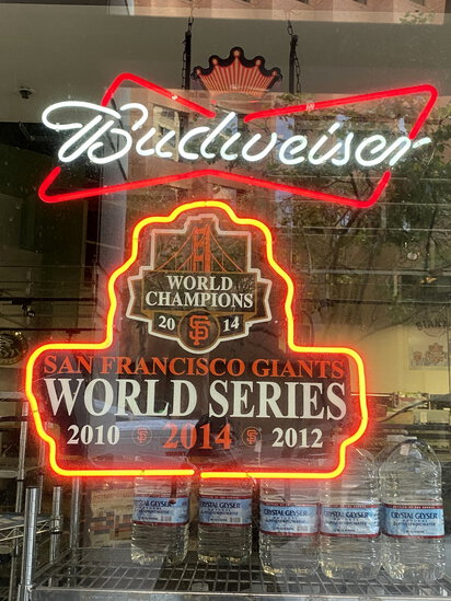 NEON 'BUDWEISER-S.F. GIANTS WORLD CHAMPIONS 2014' BEER SIGN