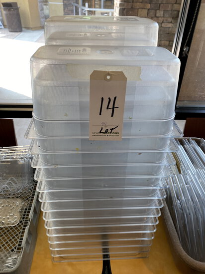 """LOT - PLASTIC 1/3-SIZE 6"""" FOOD CONTAINERS"""