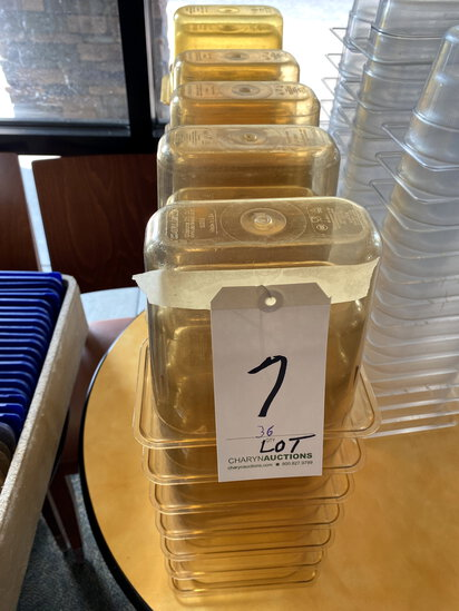LOT - (36)AMBER PLASTIC 1/9-SIZE FOOD CONTAINERS