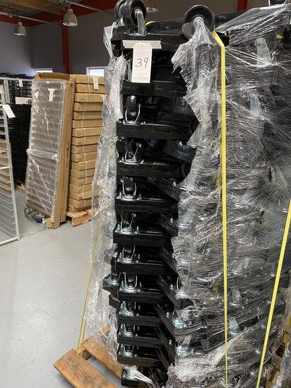 "*EACH*NEW ORBIS BLACK PLASTIC 4-WHEEL 29""X26""X3"" DOLLIES W/400LB CAPACITY"
