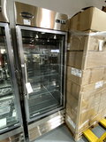 NEW SABA S/S 1-GLASS DOOR COOLER W/CASTERS (ONE GLASS PANE BROKEN/DOOR HANDLE BENT)