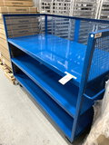 NEW MODERN EQUIPMENT CO. BLUE METAL 3-SHELF 72