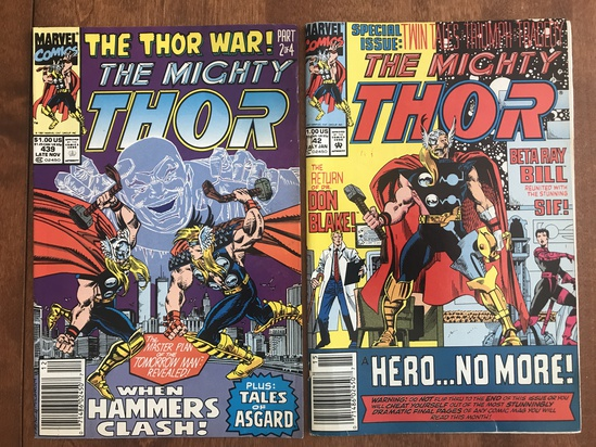 2 Issues The Mighty Thor Comic #439 & #442 Marvel Comics