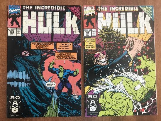 2 Issues The Incredible Hulk Comic #384 & #385 Marvel Comics