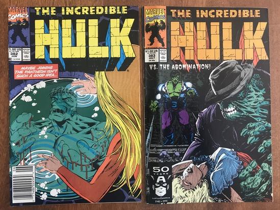 2 Issues The Incredible Hulk Comic #382 & #383 Marvel Comics