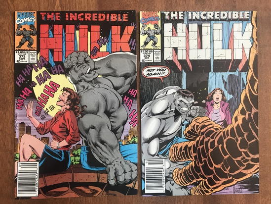2 Issues The Incredible Hulk Comic #373 & #374 Marvel Comics Copper Age Comics