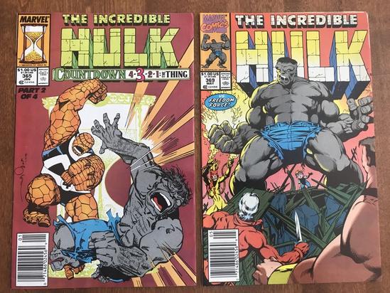 2 Issues The Incredible Hulk Comic #365 & #369 Marvel Comics Copper Age Comics