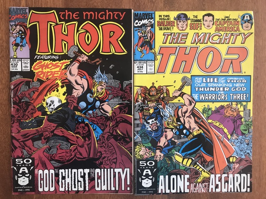 2 Issues The Mighty Thor Comic #430 & #434 Marvel Comics