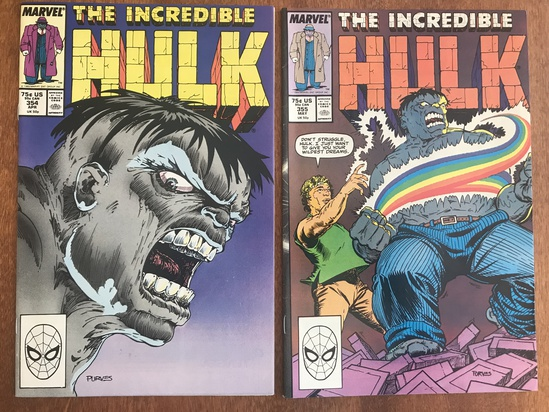 2 Issues The Incredible Hulk Comic #354 & #355 Marvel Comics Copper Age Comics