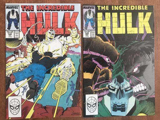 2 Issues The Incredible Hulk Comic #348 & #350 Marvel Comics Copper Age Comics
