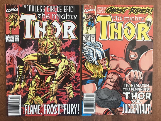 2 Issues The Mighty Thor Comic #425 & #429 Marvel Comics 1990 Copper Age Comics